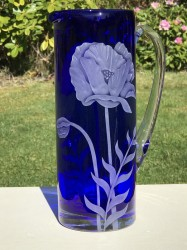 Poppy Pitcher glass art by cynthia myers